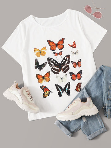 Plus Butterfly Print Short Sleeve Tee | Amy's Cart Singapore