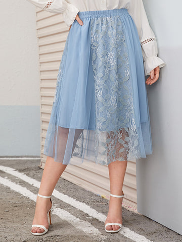 Plus Embroidery Mesh Skirt | Amy's Cart Singapore