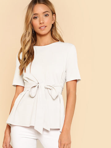 Self Belt Keyhole Back Solid Top | Amy's Cart Singapore