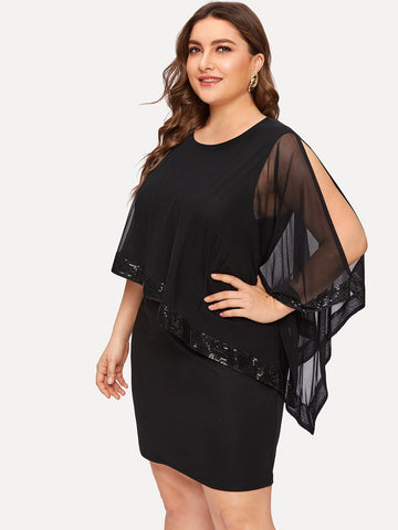 Plus Contrast Mesh Sequin Dress | Amy's Cart Singapore