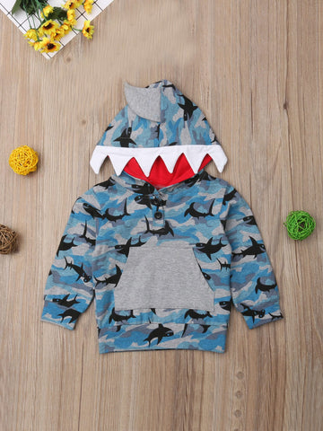 Toddler Boys Shark & Camo Print Button Placket Hoodie | Amy's Cart Singapore
