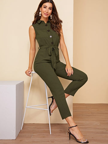 Buttoned Pocket Patched Belted Utility Jumpsuit | Amy's Cart Singapore