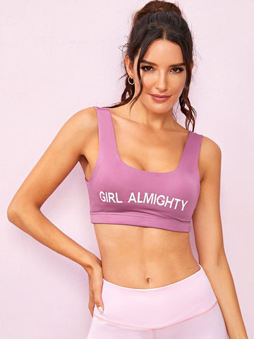 Letter Print Sports Bra | Amy's Cart Singapore