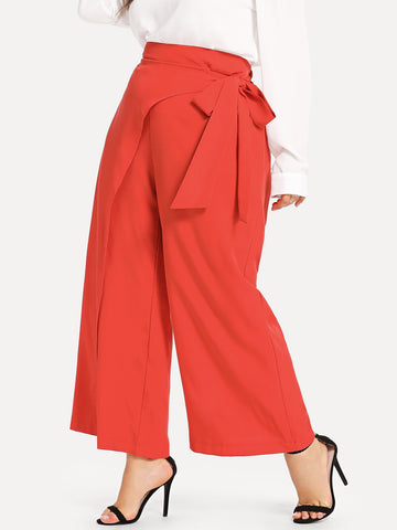 Plus Tie Waist Wide Leg Pants | Amy's Cart Singapore