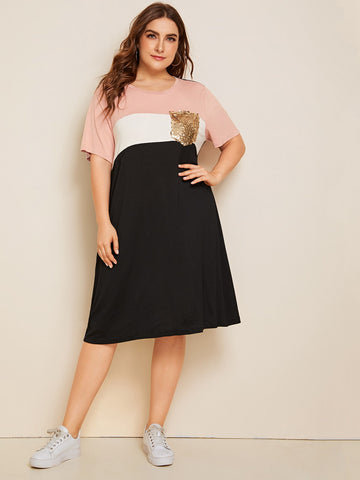 Plus Sequin Pocket Patched Colorblock Dress | Amy's Cart Singapore