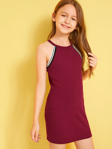 Girls Striped Tape Detail Rib-knit Halter Dress | Amy's Cart Singapore