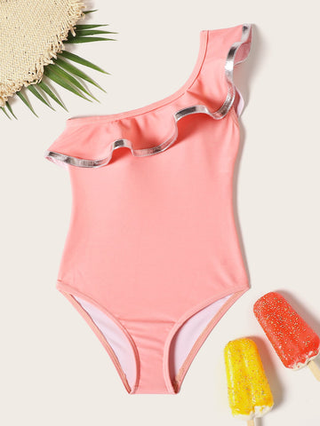 Toddler Girls One Shoulder Ruffle One Piece Swim | Amy's Cart Singapore