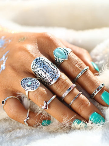 Retro Ring Set With Turquoise 10pcs | Amy's Cart Singapore