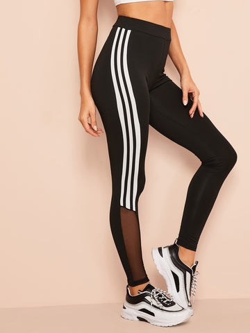 Mesh Insert Striped Leggings | Amy's Cart Singapore