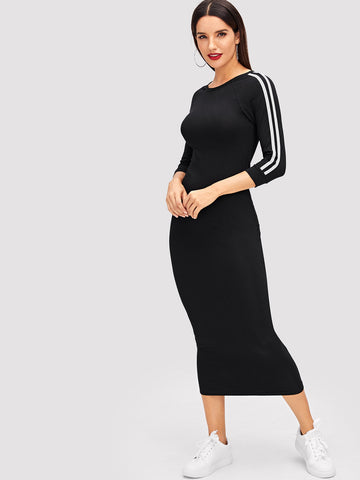 Raglan Sleeve Side Striped Midi Dress | Amy's Cart Singapore