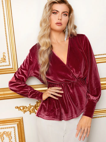 Surplice Neck Velvet Peplum Top | Amy's Cart Singapore