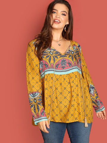 Plus Tassel Tie Neck Paisley Print Top | Amy's Cart Singapore