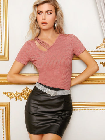 Asymmetrical Neck Rib-knit Glitter Top | Amy's Cart Singapore