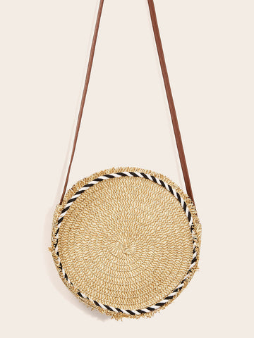 Raw Edge Round Crossbody Bag | Amy's Cart Singapore