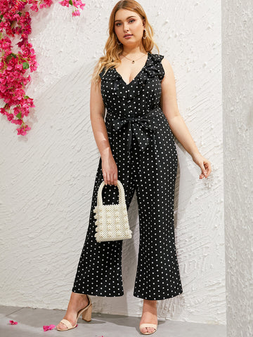 Plus Polka Dot Ruffle Belted Jumpsuit | Amy's Cart Singapore