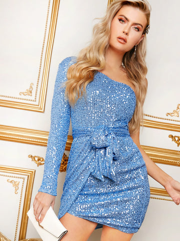 One Shoulder Belted Asymmetrical Hem Sequin Bodycon Dress | Amy's Cart Singapore