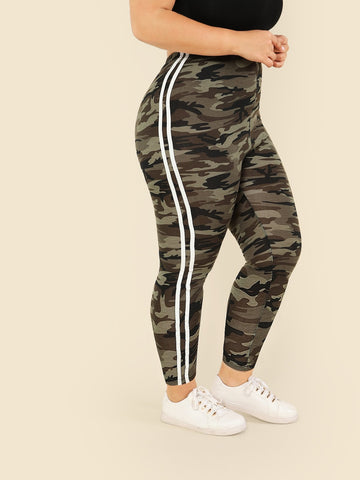 Plus Contrast Striped Side Camo Print Leggings | Amy's Cart Singapore