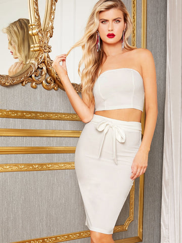 Solid Tube Crop Top & Split Hem Belted Skirt Set | Amy's Cart Singapore