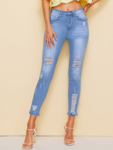 Rips Detail Bleach Wash Crop Jeans | Amy's Cart Singapore