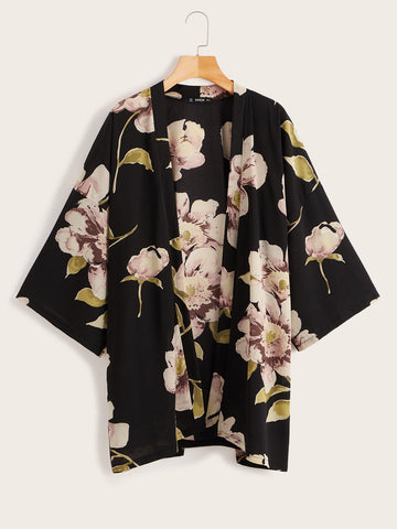 Open Front Flower Print Kimono | Amy's Cart Singapore