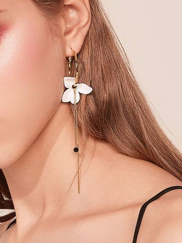 Flower & Bar Decor Hoop Drop Earrings 1pair | Amy's Cart Singapore