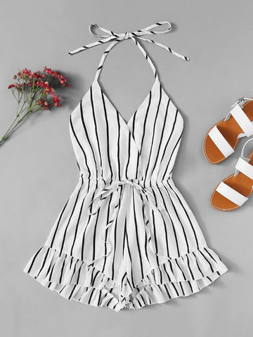 Drawstring Waist Striped Romper | Amy's Cart Singapore
