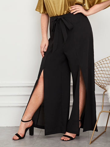 Plus Tie Front Split Thigh Wide Leg Pants | Amy's Cart Singapore