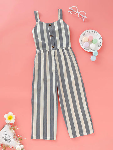Toddler Girls Button Front Stripe Jumpsuit | Amy's Cart Singapore
