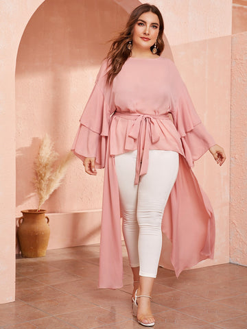 Plus Flounce Sleeve High Low Belted Top | Amy's Cart Singapore