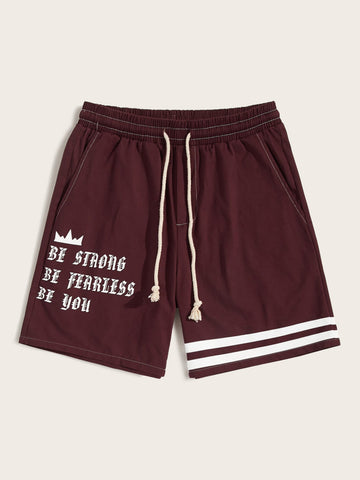 Men Drawstring Waist Letter & Striped Bermuda Shorts | Amy's Cart Singapore