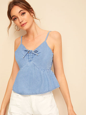Bow Tie Ruffle Hem Denim Cami Top | Amy's Cart Singapore