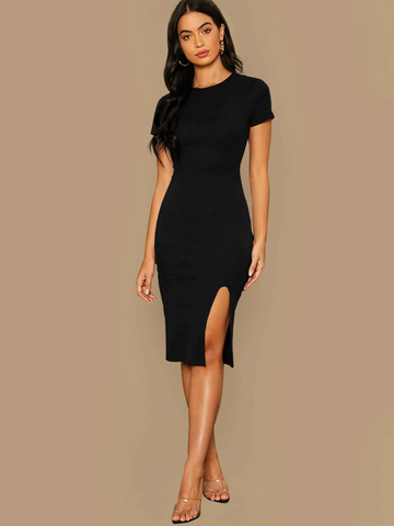 Rib-knit Slit Hem Bodycon Dress