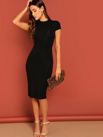 Mock-neck Solid Bodycon Dress