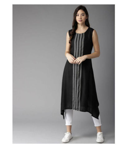 Amy's Cart Black Crepe A line Kurti