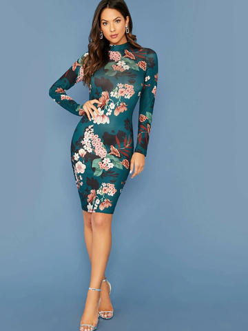 Botanical Print Mock-neck Bodycon Dress