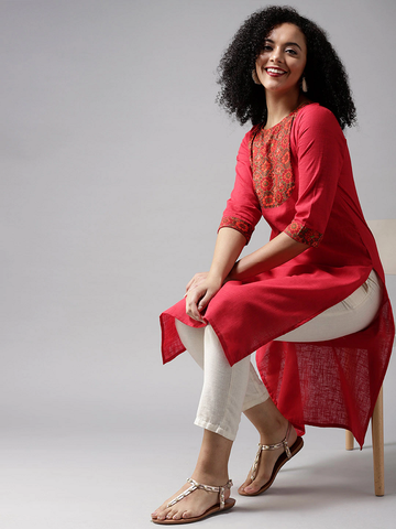 Floral Printed Red Cotton Kurta