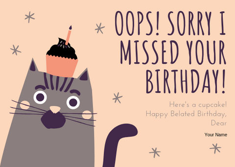 BELATED BIRTHDAY WISHES - GREETING CARD | Amy's Cart Singapore