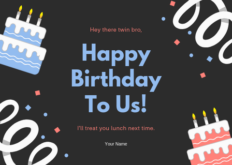 HAPPY BIRTHDAY TO US - GREETING CARD | Amy's Cart Singapore