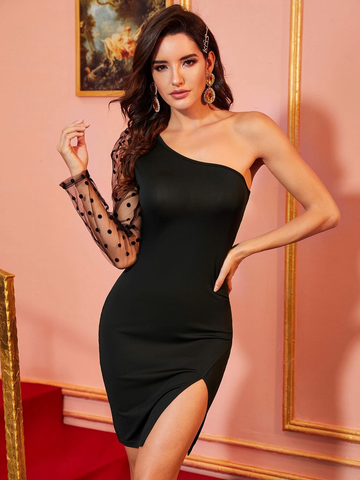 One Shoulder Contrast Dobby Mesh Bodycon Dress