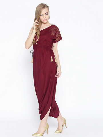 Maroon Solid One-Shoulder Dhoti Style Jumpsuit