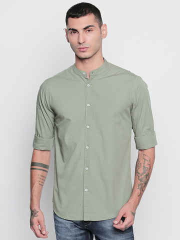 Men Green Slim Fit Shirt