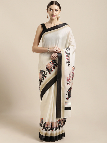 Off-White Silk Blend Solid Khadi Saree