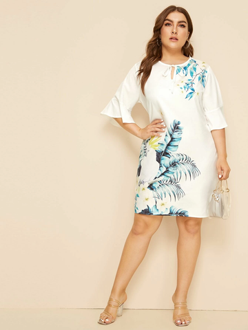 Plus Tie Neck Tropical Print Dress