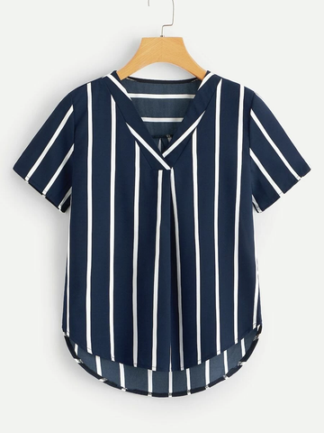 Plus Dip Hem Striped Blouse