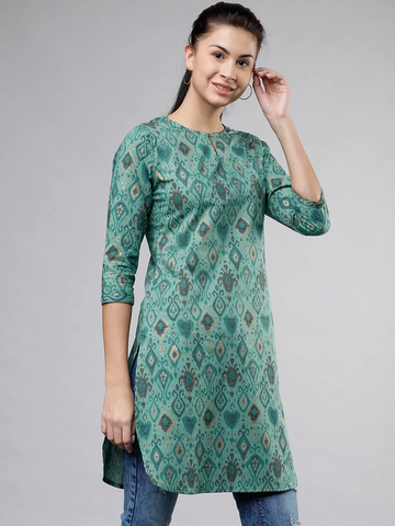 Printed Curved Hem Tunic