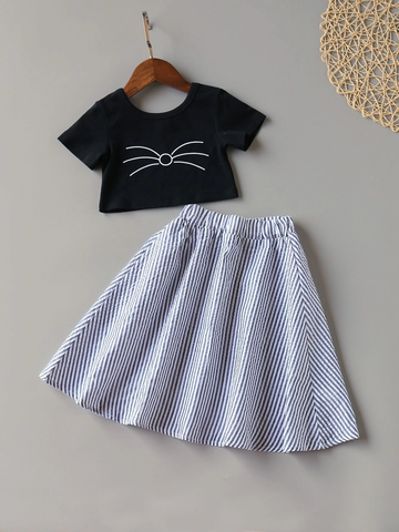 Toddler Girls Cartoon Graphic Tee With Striped Skirt