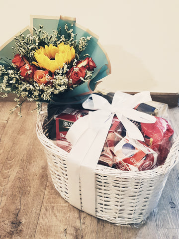 Fyona - The Care Package With Sunflower And Roses Bouquet