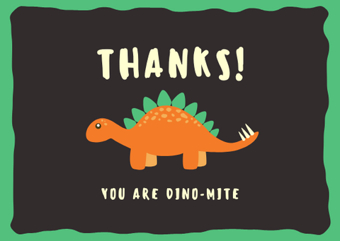 THANKS, YOU ARE DINO-MITE - GREETING CARD | Amy's Cart Singapore