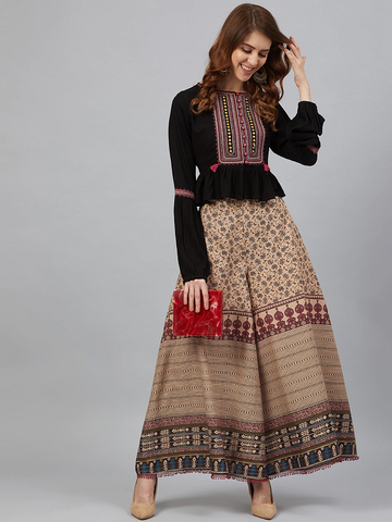 Women Ethnic Embroidered Top with Palazzos