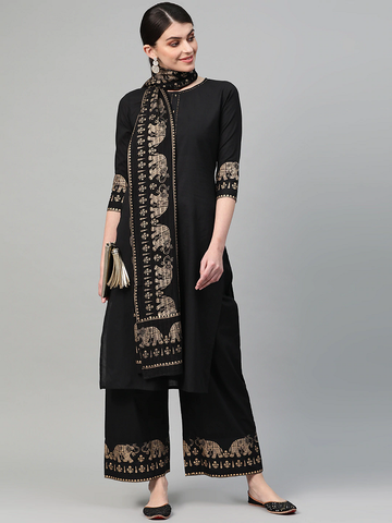 Women Black & Golden Solid Kurta with Palazzos & Dupatta